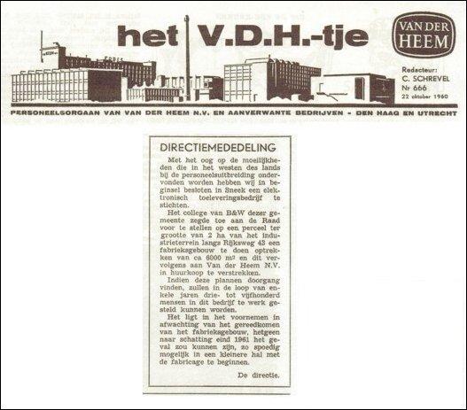 Eerste vermelding Sneek, VDH-tje N°666-1 van 22 oktober 1960