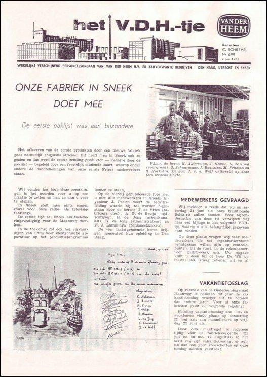 VDH-tje N°699 van 2 juni 1961