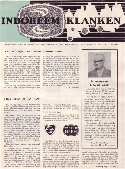 IndoHeem Klanken IK01-1 van 6 augustus 1965